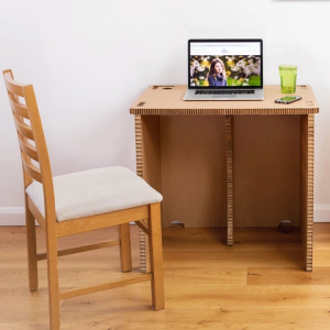 Photo of the assembled cardboard desk in adult size